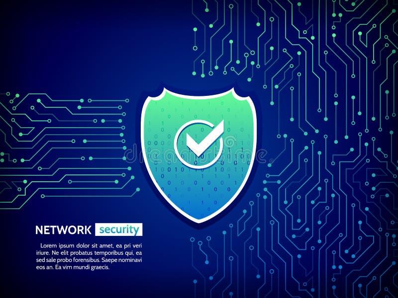 Säkerhetssköldbegrepp Guld- text på mörk bakgrund Digitalt skydd för vektorillustration stock illustrationer