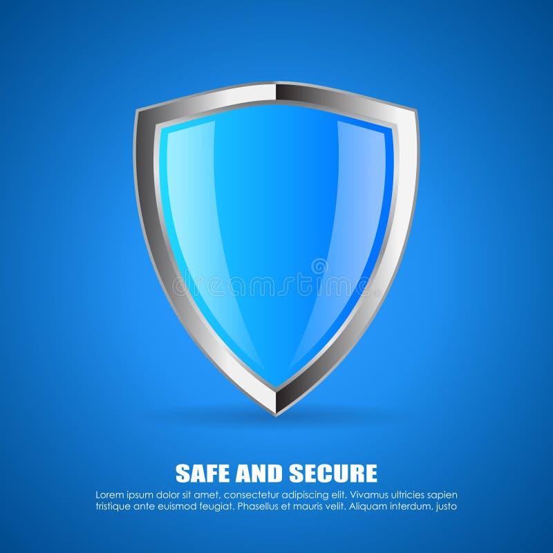 Säkerhetssköldsymbol royaltyfri illustrationer