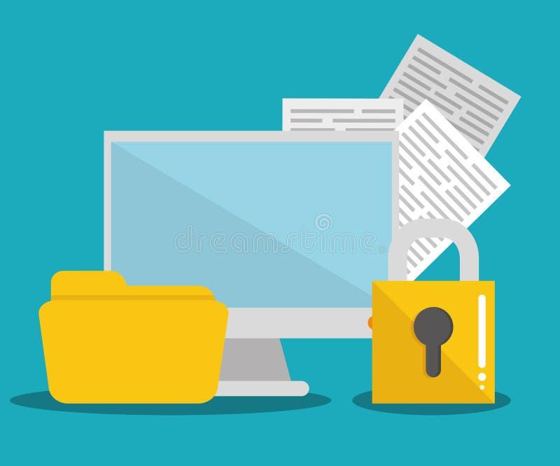 Säkerhetssystem och teknologi stock illustrationer