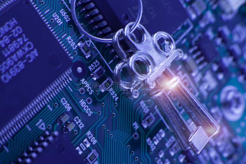 Säkerhetsteknologi - låstangent, kod royaltyfri bild