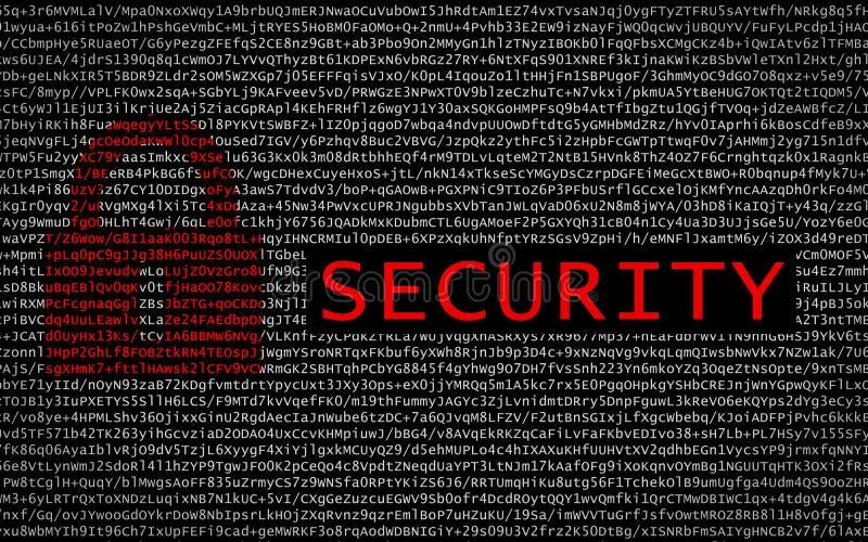 Säkerhetstext med det röda låset över kodad text royaltyfri bild