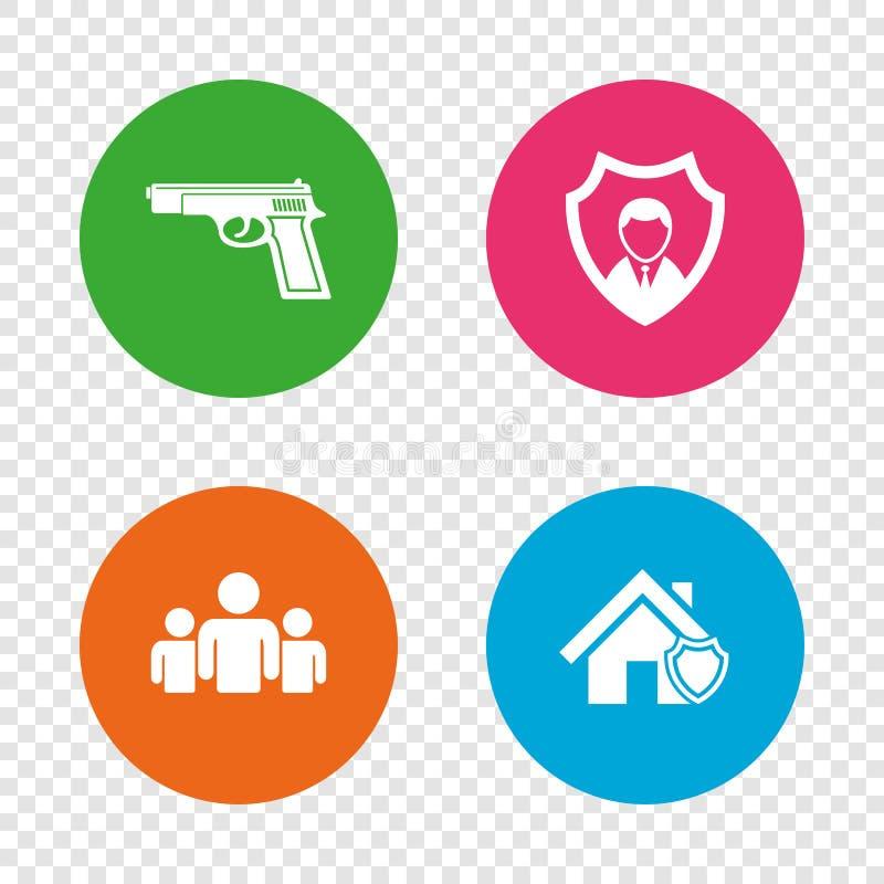 Säkerhetstjänstsymboler Hem- sköldskydd royaltyfri illustrationer