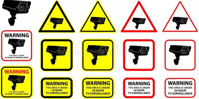 säkerhetsvektor för 3 kamera vektor illustrationer