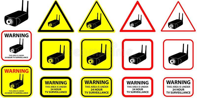 säkerhetsvektor för 6 kamera vektor illustrationer