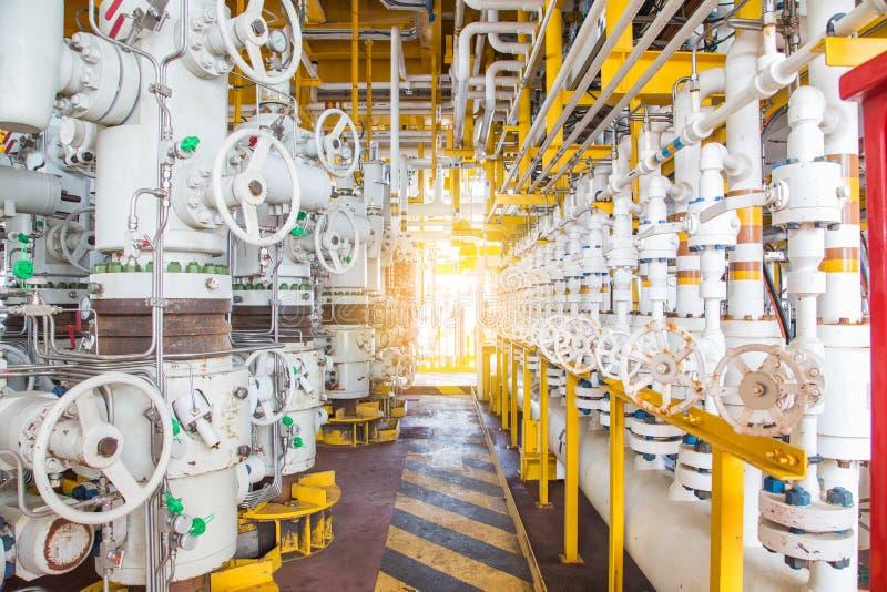 Säkerhetsventiler på den avlägsna plattformen för frånlands- fossila bränslenwellhead som skyddar röret och flödeslinjen system f royaltyfri foto