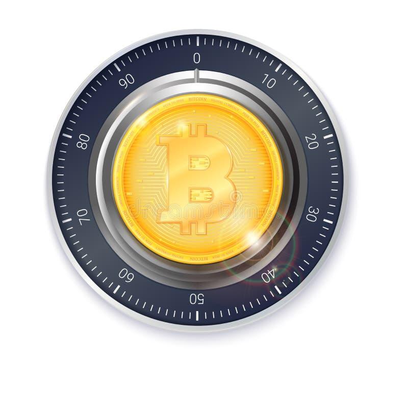Säkert lås med det crypto valutamyntet av bitcoin Realistiskt metalliskt kombinationslås för säkerhetsillustration Begrepp av vektor illustrationer