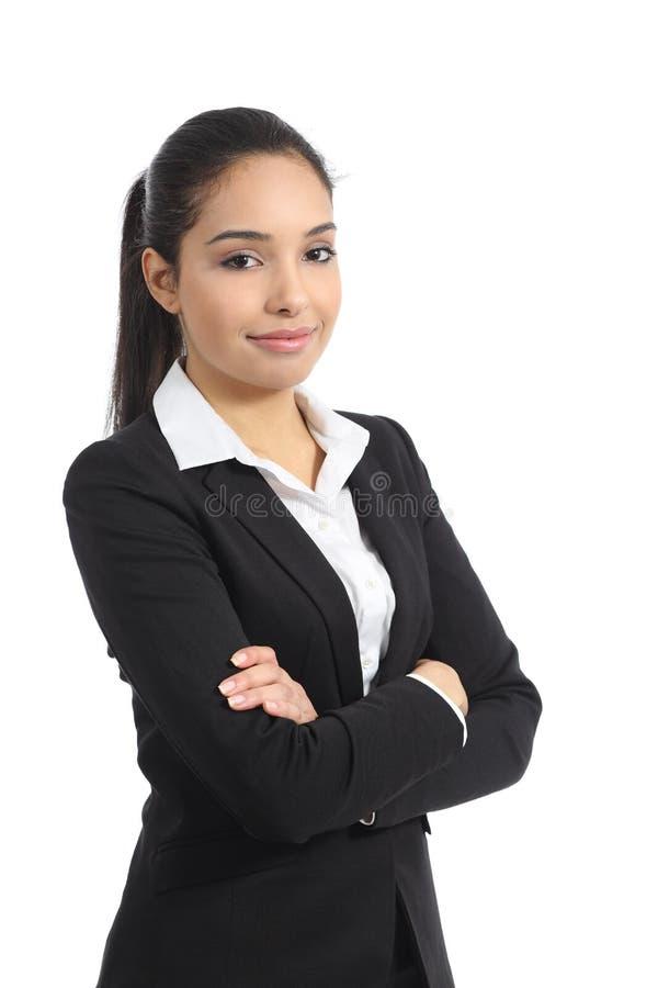 Säkert lyckligt posera för affärskvinna royaltyfri foto