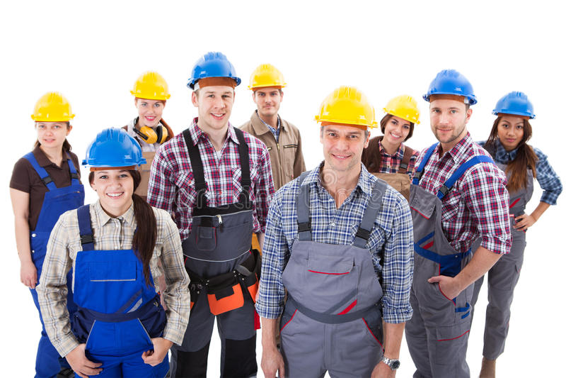Säkert olikt lag av arbetare och kvinnor royaltyfria foton