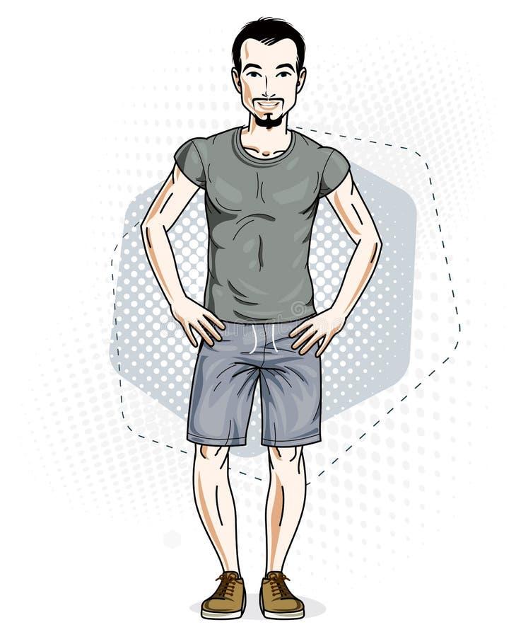 Säkert stiligt anseende för ung man för brunett Vektorillustration av mannen som bär tillfällig kläder, jeanskortslutningar och T royaltyfri illustrationer