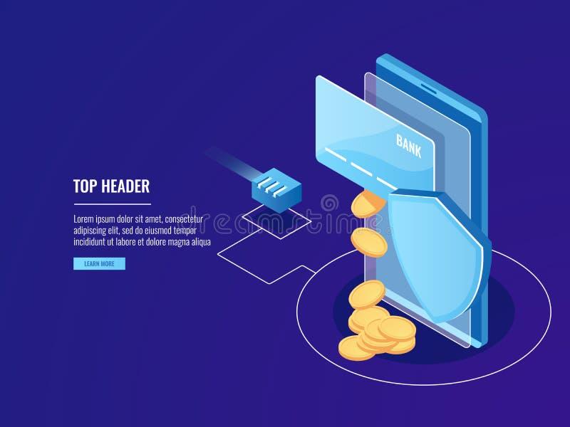 Säkra banköverföringar via mobila enheten, online-betalning, kreditkort med smartphonen och skölden, elektronpengar stock illustrationer