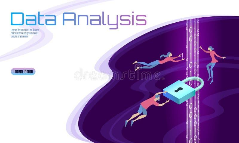 Säkra dataanalys som bearbetar affärsidé Flöde för binär kod för hänglås för tecknad film för säkerhet för personlig information  vektor illustrationer