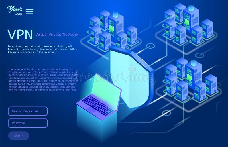 Säkra det faktiska begreppet för det privata nätverket Isometrisk vektorillustration av vpnservice royaltyfri illustrationer