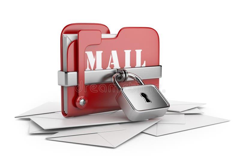 Säkra e-postdata. symbol 3D   royaltyfri illustrationer