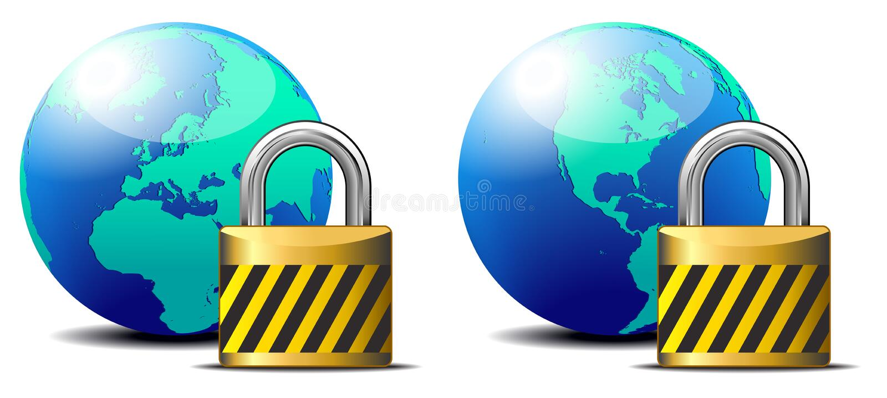 Säkra internet låser - surfa skydd för internet vektor illustrationer