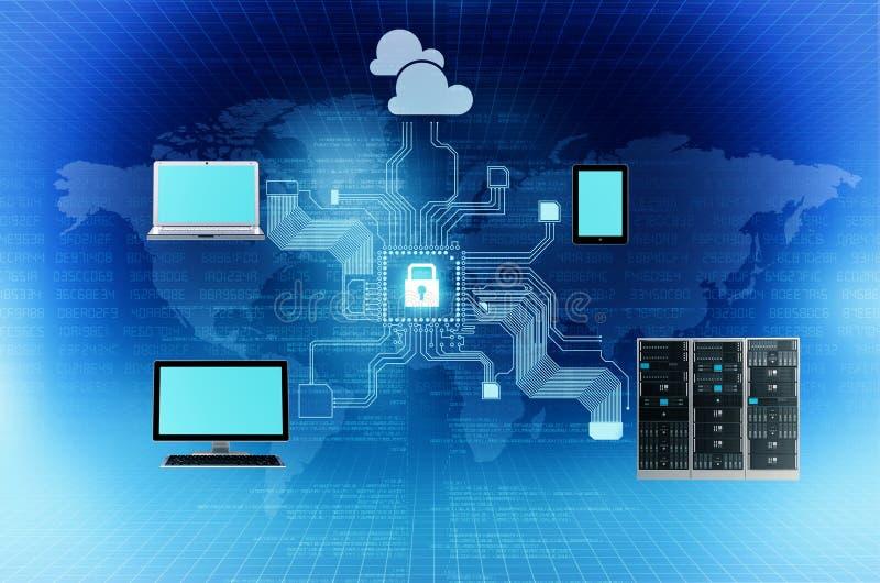 Säkra internetuppkopplingbegreppet royaltyfri illustrationer