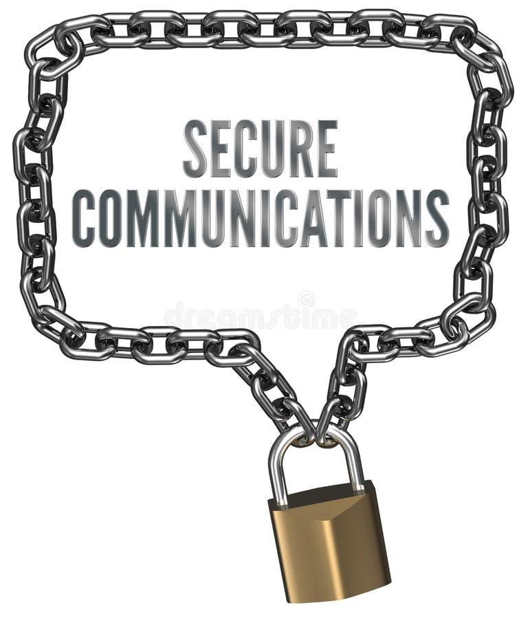 Säkra kommunikationer kedjar låser gränsar stock illustrationer