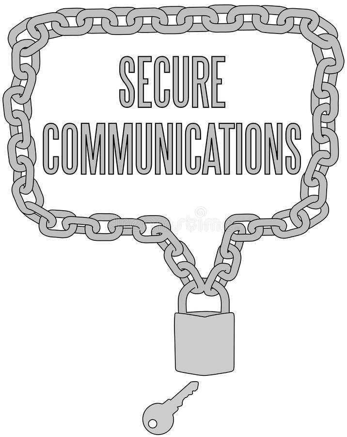 Säkra kommunikationer kedjar låser inramar stock illustrationer