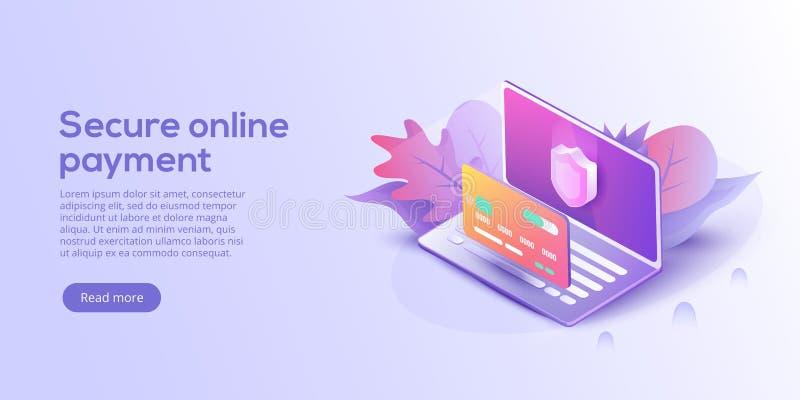 Säkra online-betalning för e-kommers isometrisk vektorillustrati royaltyfri illustrationer
