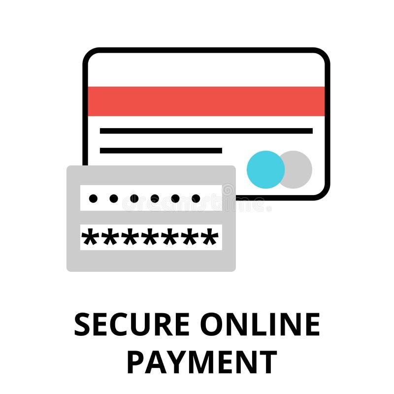 Säkra online-betalningsymbolen, för diagram och rengöringsdukdesign royaltyfri illustrationer