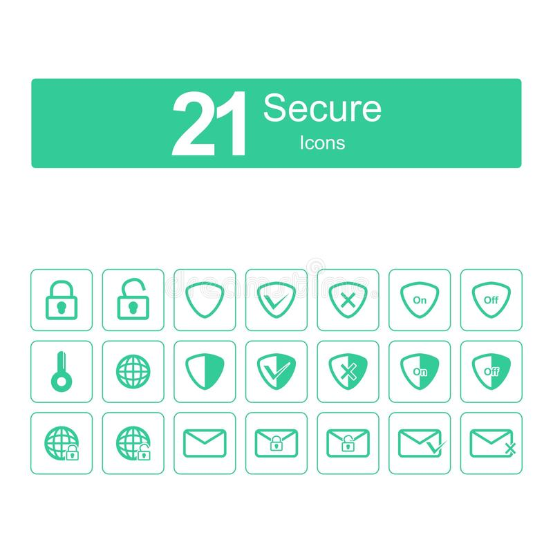 21 säkra symboler royaltyfri illustrationer