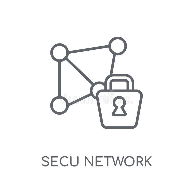 Säkrad linjär symbol för nätverk Modern översikt säkrad nätverkslogo royaltyfri illustrationer
