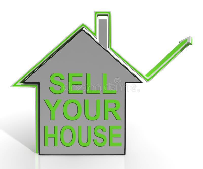 Sälj dina köpare för egenskapen för fyndet för hushemhjälpmedel stock illustrationer