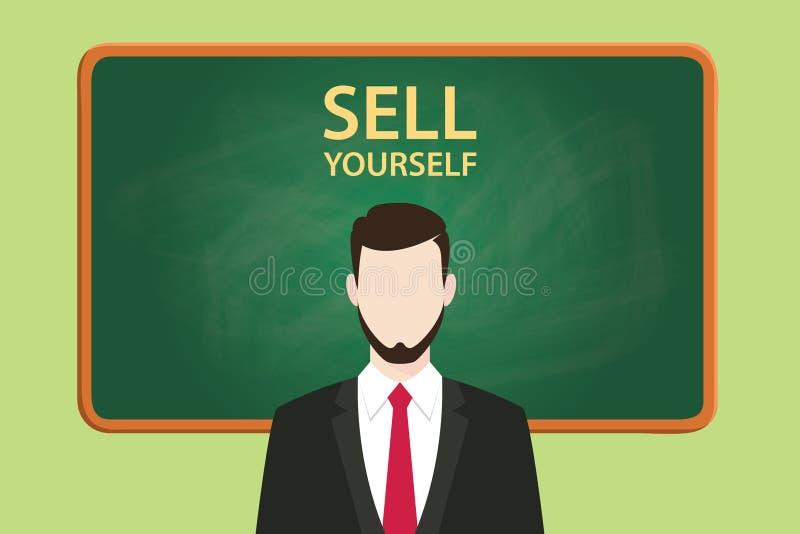 Sälj sig illustrationen med svart tavlan och text för affärsman den stående bak vektordiagram royaltyfri illustrationer