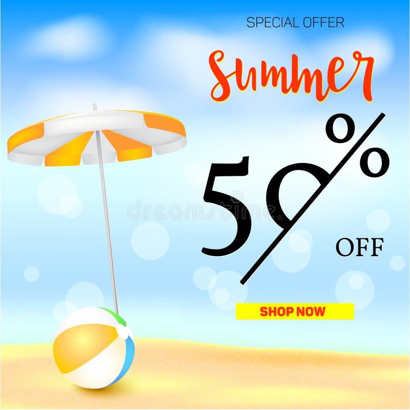 Sälja annonsbanret, tappningtextdesign Rabatter för femtio procent sommarsemester, bakgrunden för sandig strand med solen stock illustrationer
