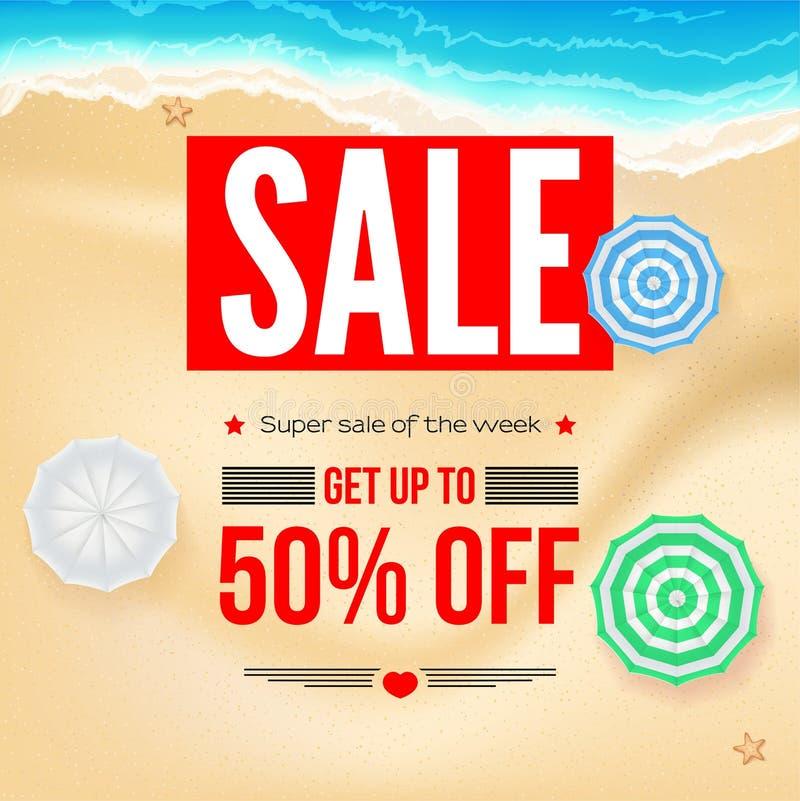 Sälja annonsbanret, tappningtextdesign Rabatter för femtio procent sommarsemester, försäljningsbakgrund av den sandiga stranden o stock illustrationer