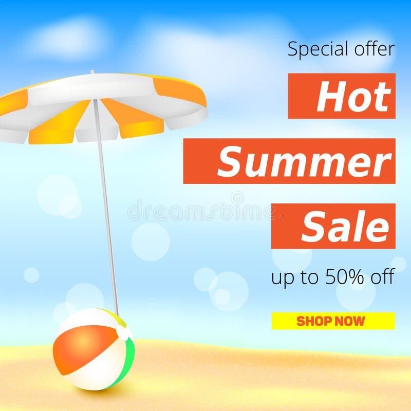 Sälja annonsbanret, tappningtextdesign Varma rabatter för femtio procent sommar, bakgrunden för sandig strand med solparaplyet stock illustrationer