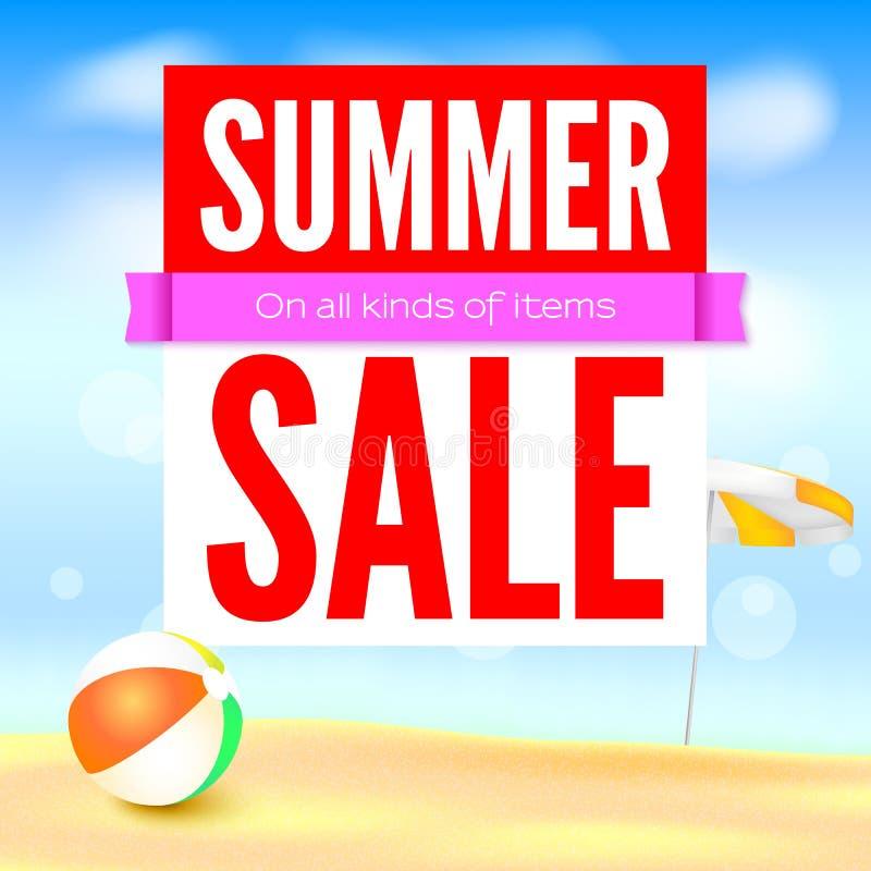Sälja annonsbanret, tappningtextdesign Varma rabatter för femtio procent sommar, bakgrunden för sandig strand med solparaplyet royaltyfri illustrationer