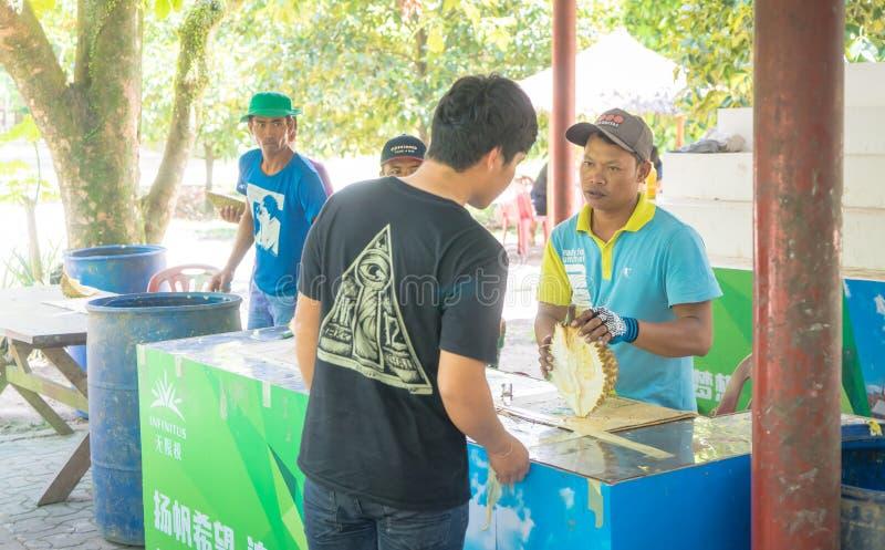 Säljaren skalar Durianfrukt för kund royaltyfri bild