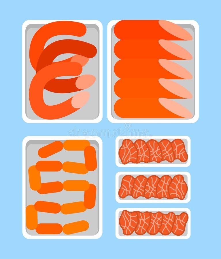 Säljareräknare som är full av slaktlivsmedelsproduktkött royaltyfri illustrationer