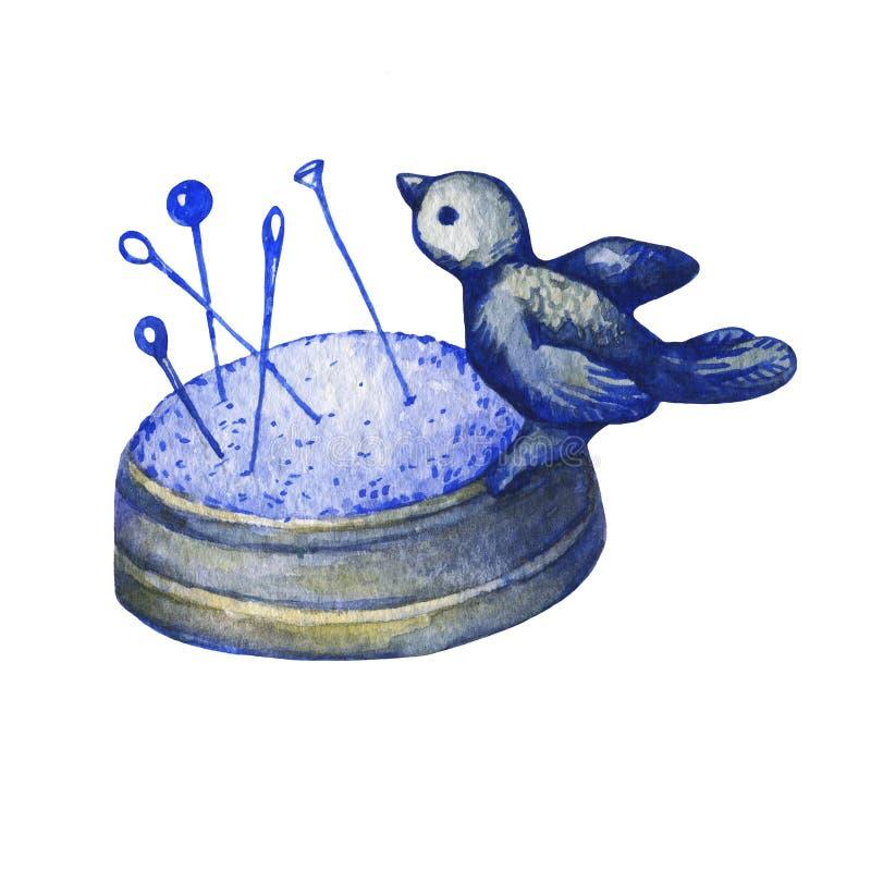 Sällsynt fågel för tappninggjutjärnnåldyna på rede vektor illustrationer