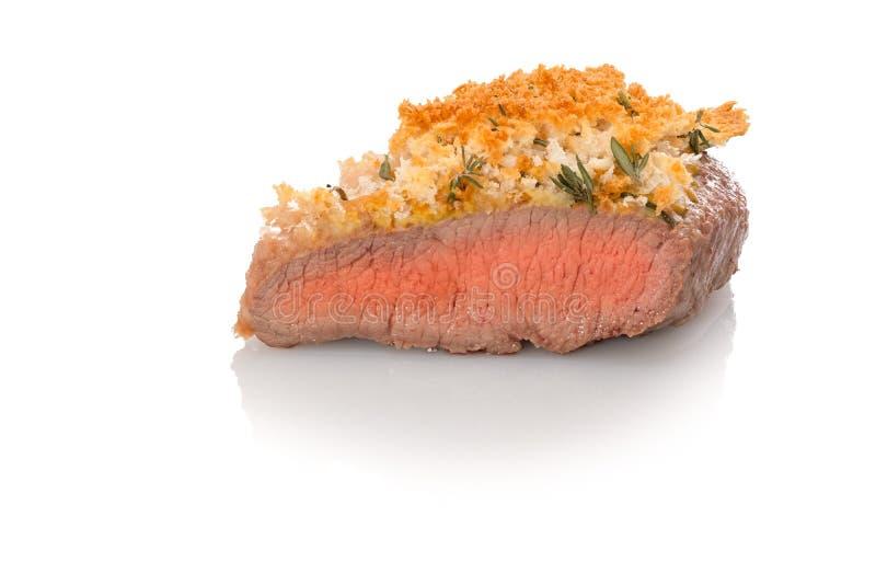 Sällsynt för lammköttmedel som grillas med brödskorpan royaltyfri fotografi
