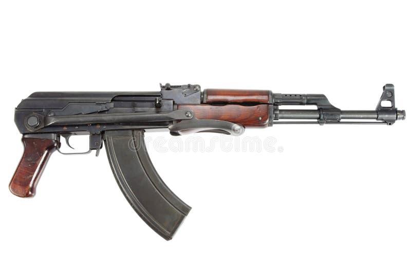Sällsynt första modell AK - gevär för anfall som 47 isoleras på vit royaltyfri fotografi