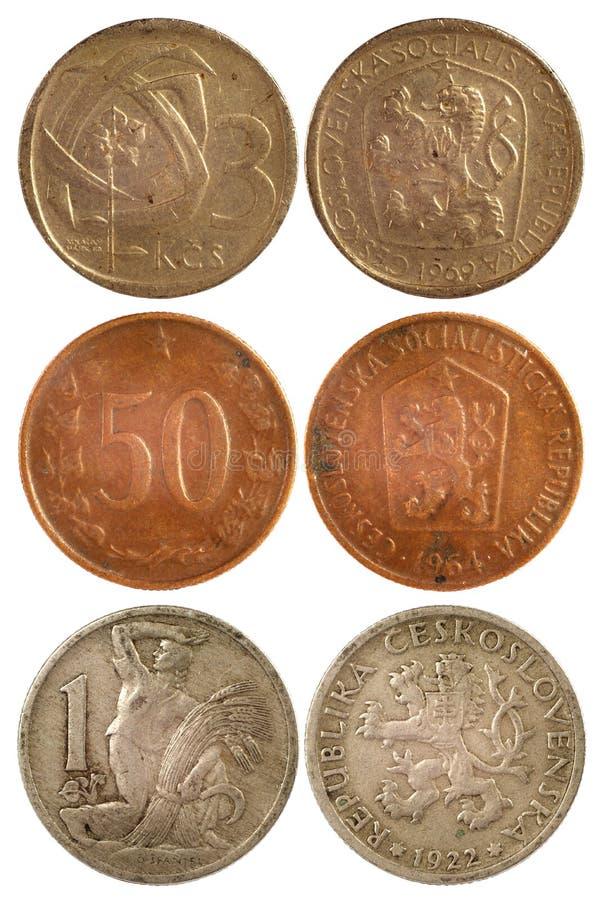 Sällsynt tappning myntar av czechoslovakia royaltyfri foto