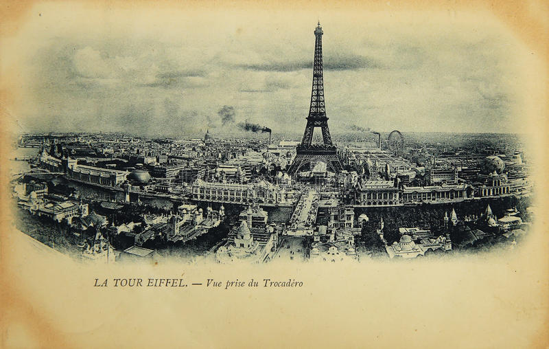 Sällsynt tappningvykort med sikt på Eiffeltorn från Trocadero i Paris, Frankrike royaltyfria foton