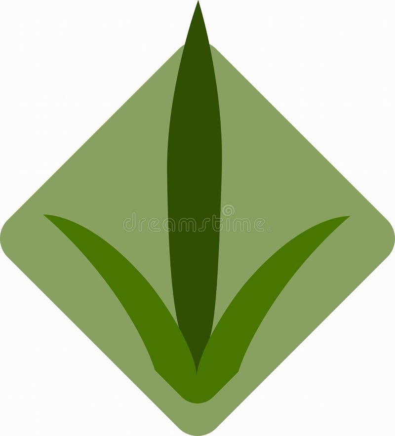 Sämlinge des Grases für das Züchten im abstrakten Vektor Ikone für die Landwirtschaft auf dem Hintergrund der grünen Raute stock abbildung