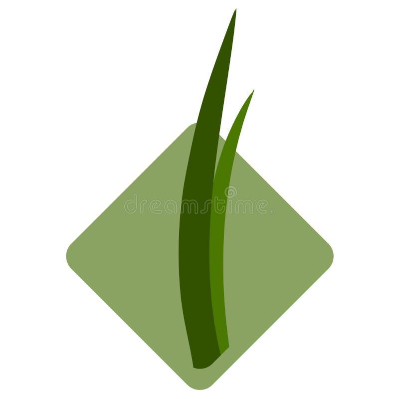 Sämlinge des Grases für das Züchten im abstrakten Vektor Ikone für die Landwirtschaft auf dem Hintergrund des grünen rhombu vektor abbildung