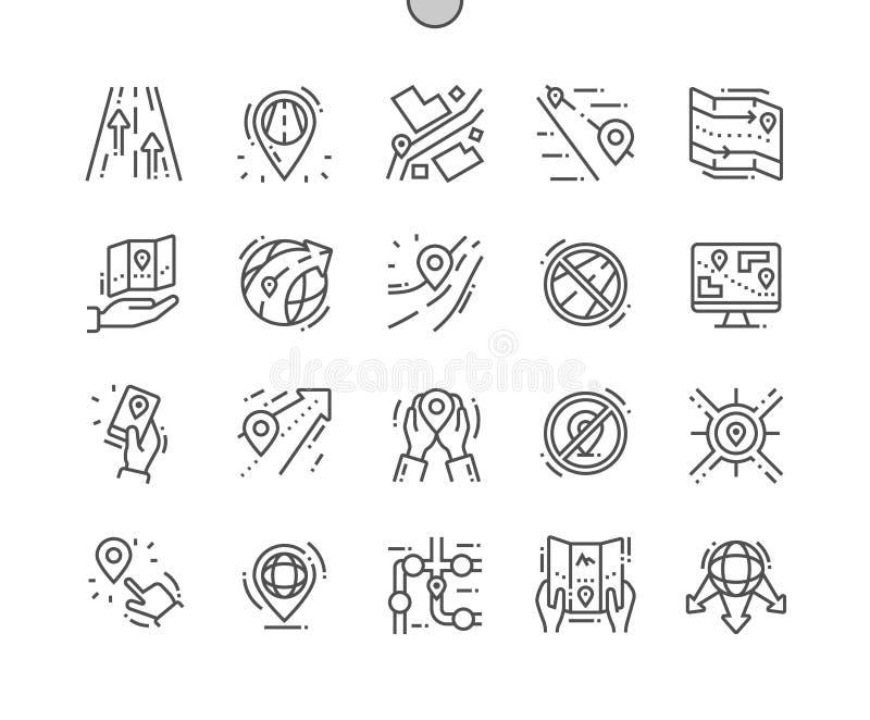 Sänd dettillverkade PIXELet som den perfekta vektorn fodrar thin rastret 2x för symboler 30 för rengöringsdukdiagram och Apps stock illustrationer