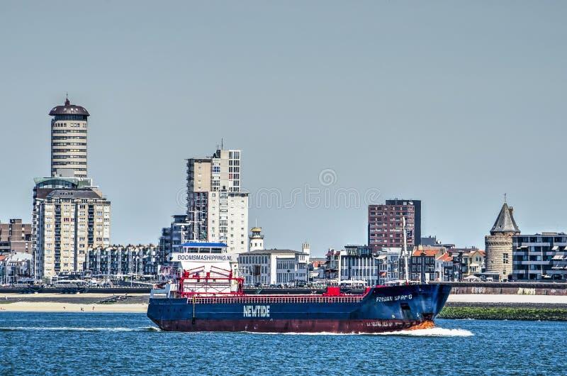 Sänd på dess väg till Antwerp på Vlissingen strand royaltyfria bilder