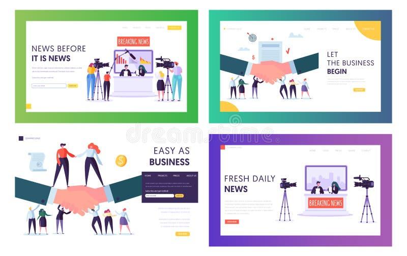 Sända mallar uppsättning för sida för landning för nyheterna- och affärsöverenskommelseWebsite, televisionpresentatörer, video sk stock illustrationer