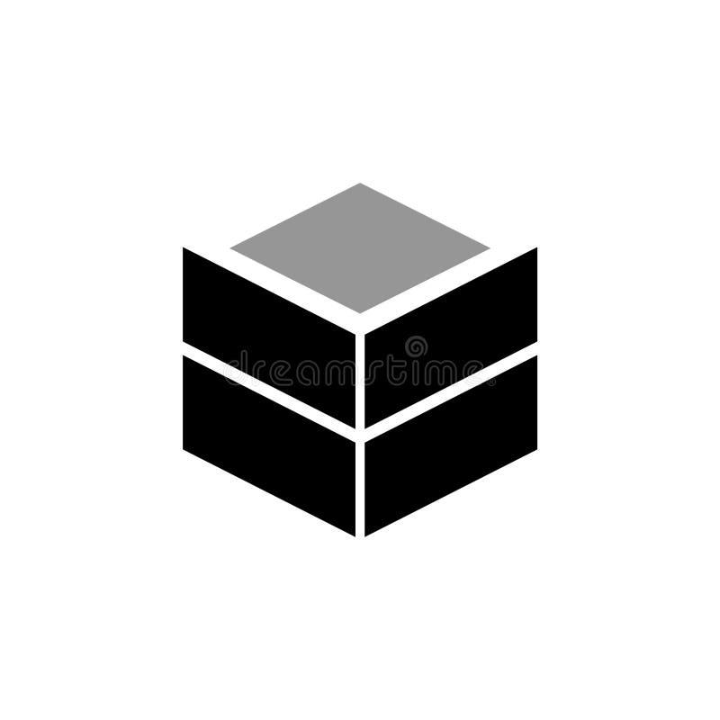 Sändande plan symbol för kartong eller för behållare stock illustrationer