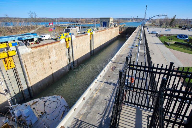 Sänder bortgång till och med Welland Canal som förbinder Kanada och USA-trans.ruttar royaltyfri fotografi