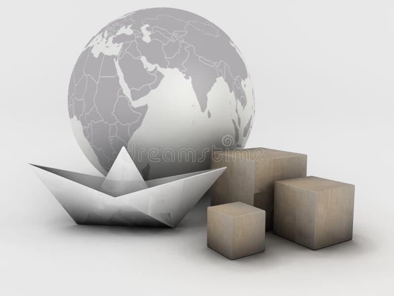 sändning över hela världen stock illustrationer