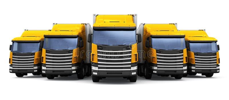 Sändning, logistik och kommersiellt begrepp för leveransaffär: 3D framför illustrationen av raden av gula lastsläprucks royaltyfri illustrationer