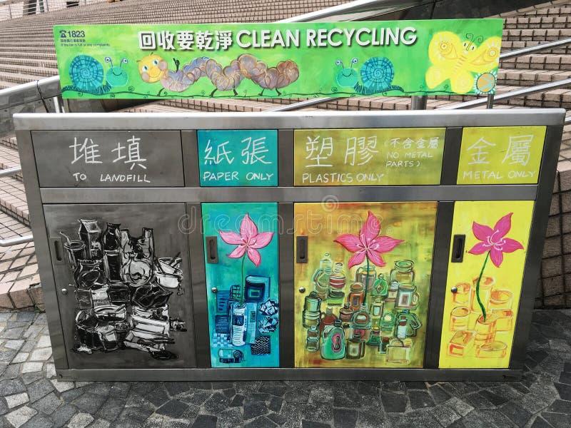 Sänftenbehälter für verschiedene Arten des Abfalls stockfoto