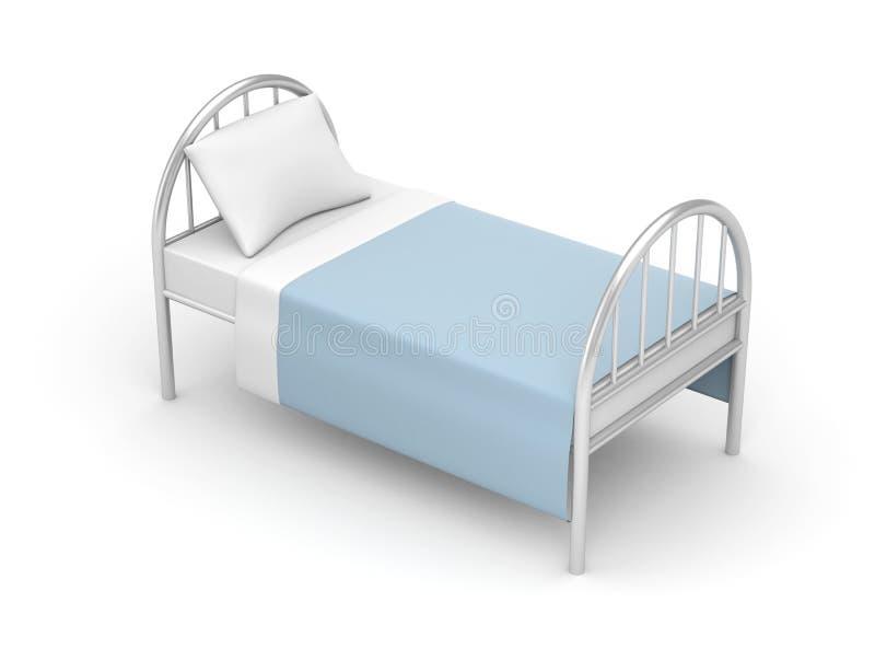 Säng Enkel säng för hotell eller sjukhus royaltyfri illustrationer