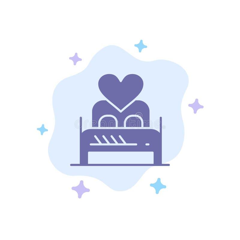 Säng förälskelse, vännen, paret, Valentine Night, hyr rum den blåa symbolen på abstrakt molnbakgrund royaltyfri illustrationer